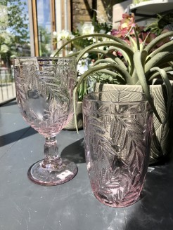 Blush Pink Leaves Pattern Glasses