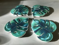 Cheese Plant Leaf Coasters Set of Four