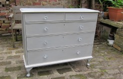 Grey Painted Walnut Chest of Drawers