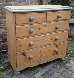 Antique Pine 5 Drawers Chest of Drawers