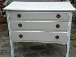 Beige Painted Mahogany Chest of Drawers