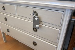 Beige Painted Antique Mahogany Chest of Drawers