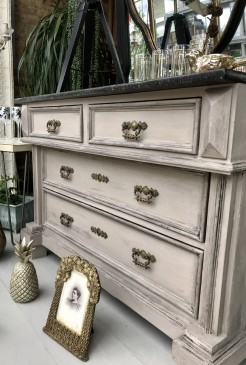 Black Marble Top Painted Antique Pine Chest of Drawers