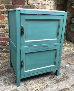 Edwardian Mahogany Two Door Cupboard Painted in Conifer