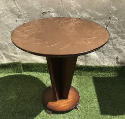 Vintage Copper Engraved Glass Topped Side Table
