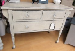 Beige Painted Distressed Three Drawer Table