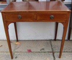 Antique Mahogany Two Drawer Small Table