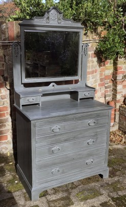 Antique Edwardian Dressing Chest Painted in Fossil Dark Grey