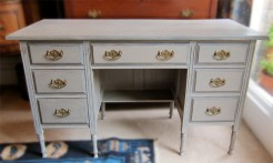 Grey Painted Walnut Desk or Table