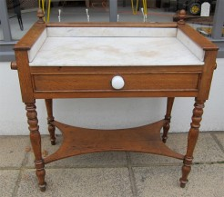French Oak and White Marble Washtand