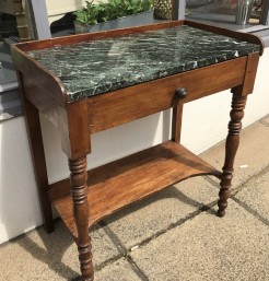 Green Marble Top French Antique Table with Drawer