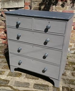 Grey Painted Edwardian Chest of Drawers