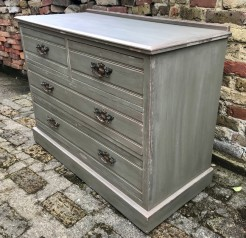 Green and Copper Painted Distressed Antique Chest of Drawers