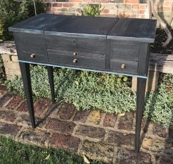 Antique French Black Painted Console Hall Dressing Table