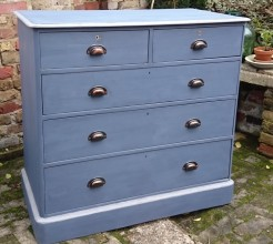 Victorian Pine Navy Blue Painted Chest of Drawers