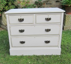 Off White Painted Walnut Chest of Drawers