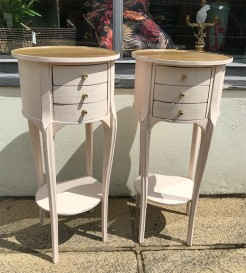 Pair of Vintage French Round Painted Bedside Tables