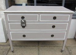 Edwardian Mahogany Beige Painted Chest of Drawers