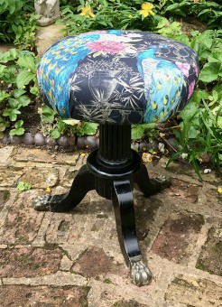 Peacock Fabric Antique Claw Foot Stool