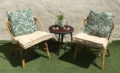 Vintage French Rattan Bamboo Lounge Garden Chairs