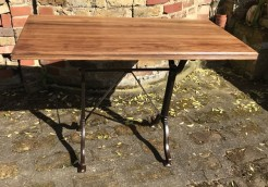 Antique French Iron Base With Satinwood Top Upcycled Table