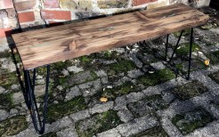 Reclaimed Wood Bench with Black Hairpin Legs