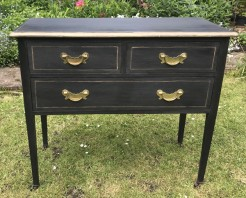 Mahogany Three Drawer Table Painted Noir Black and Gold
