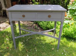Grey Painted 2 Drawer Table