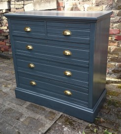 Edwardian Grey Painted Large Five Drawer Chest