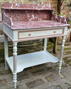 Grey Painted Antique French Marble Washstand
