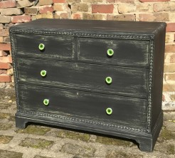 Black Painted Distressed Chest of Drawers with Green Knobs
