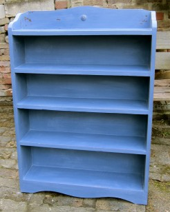 Violet Painted Narrow Oak Bookcase