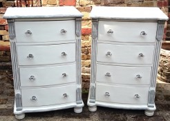 Pair of White Painted Tallboy Chests of Drawers