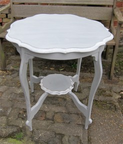 Edwardian Grey Painted Fluted Edge Table