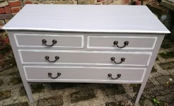 Edwardian Mahogany Pastille Beige Painted Chest of Drawers