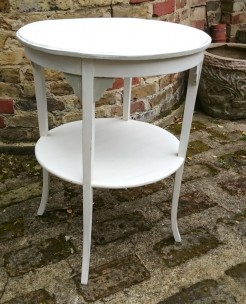White Painted Small Round Table