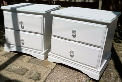 Pair of White Painted Pine Bedsides