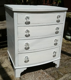 White Painted 4 Drawer Bowfront Chest