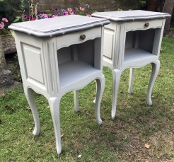 Pair of Petite Antique French Bedside Tables Painted in Shutter Grey