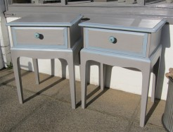 Grey Painted Pair of Bedside Tables