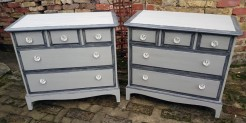 Grey Painted Stag Chests of Drawers