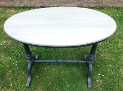 Antique Oval Grey Painted Small Table