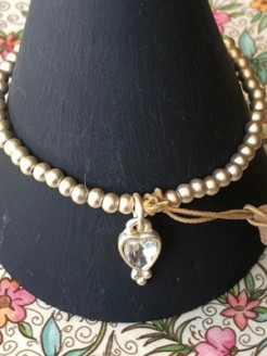 Silver and Gold Beaded Bracelets with Crystal Heart Charms
