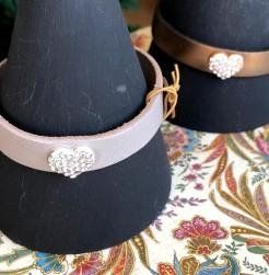 Leather Bracelet with Crystal Heart