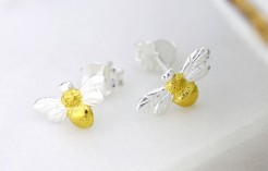 Two Tone Bee Sterling Silver Stud Earrings
