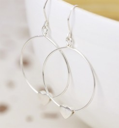 Sterling Silver Heart on a Hoop Earrings