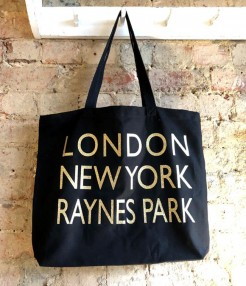 Black and Gold Glitter Letter Local Tote Bag