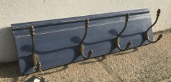 Nordic Blue Reclaimed Skirting Detail Coatrack With Four Double Hooks