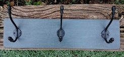 Dark Grey Coatrack with 3 Blk Double Hooks