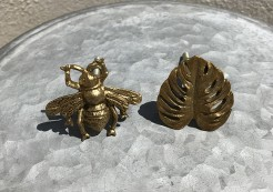 Golden Bee and Leaf Knobs